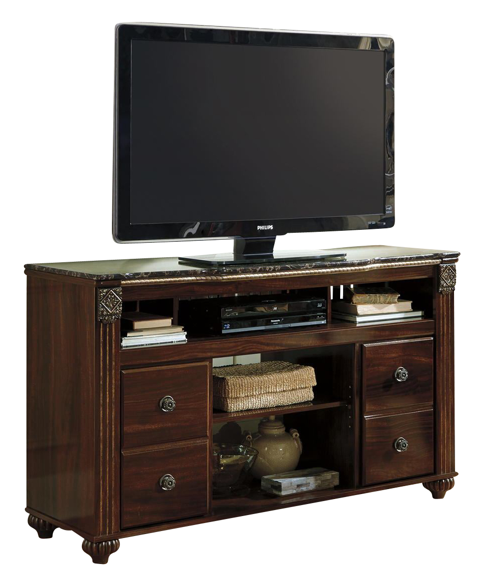 gabriela large tv stand w fireplace option in dark reddish brown w347