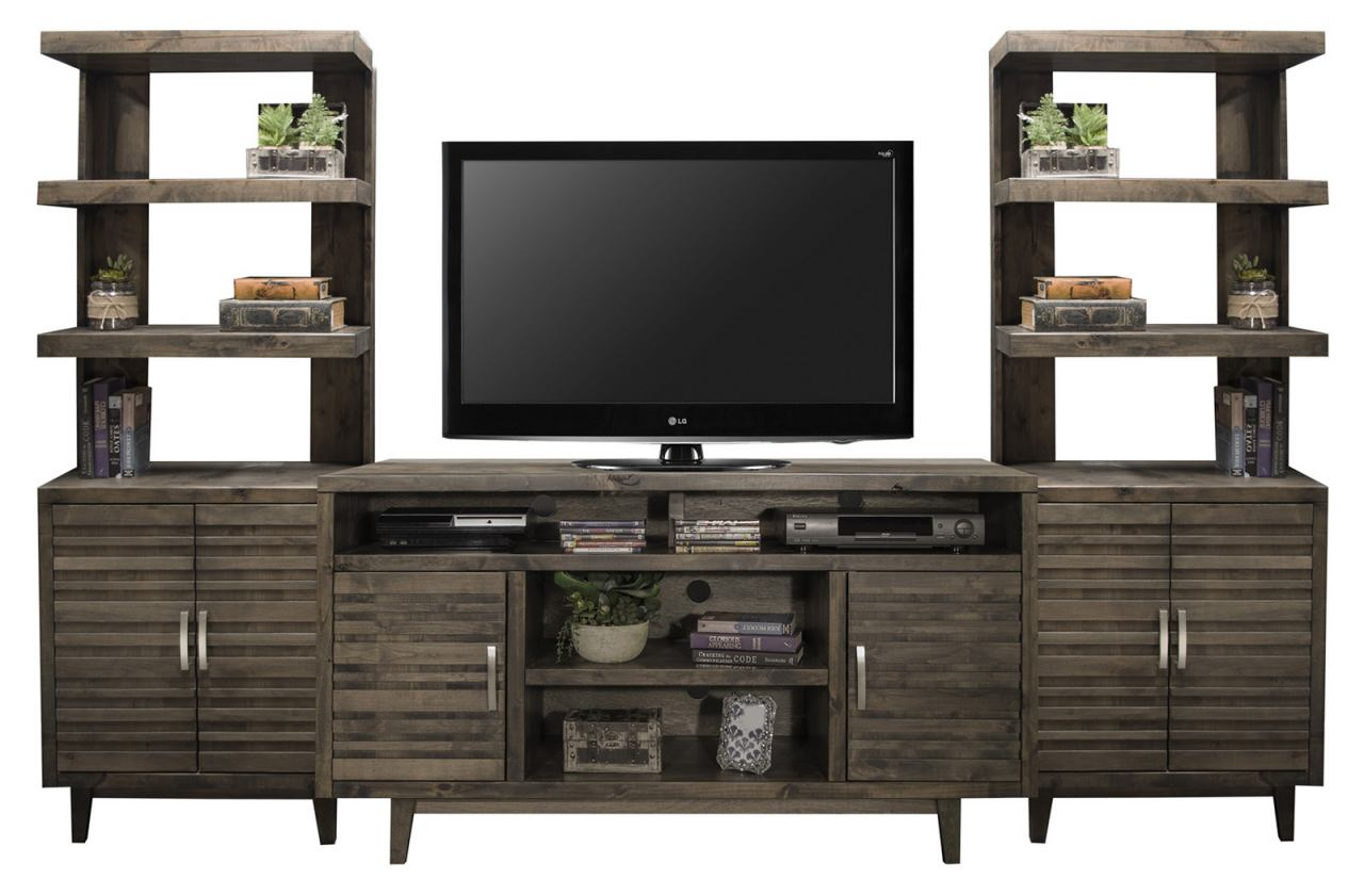 """Legends Furniture Avondale 3pc Entertainment Wall with 62"""" TV Console in Charcoal"""
