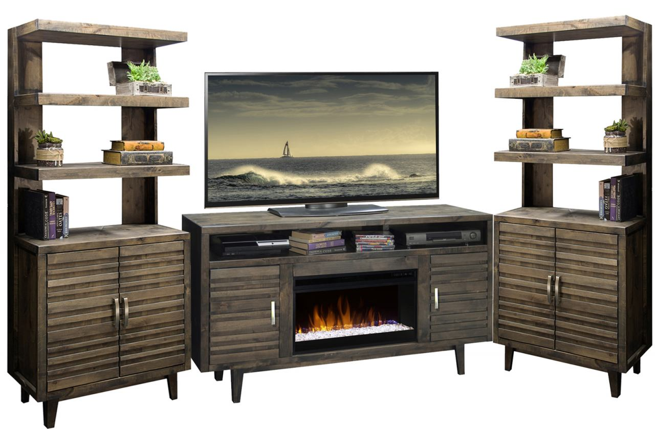 "Legends Furniture Avondale 3pc Entertainment Wall with 61"" Fireplace Console in Charcoal"