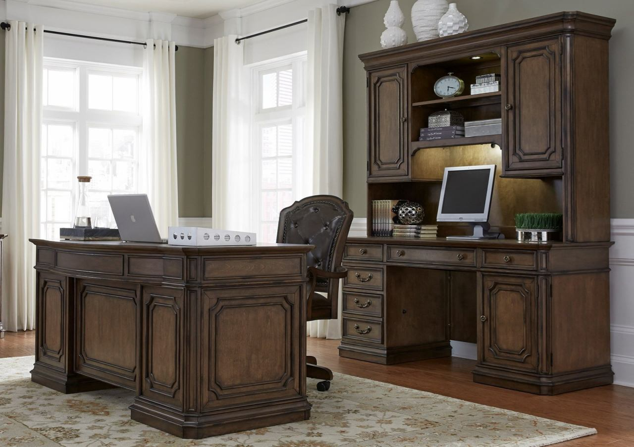 Liberty Amelia 3pc Jr Executive Office Funiture Set in Antique Toffee EST SHIP TIME IS 4 WEEKS