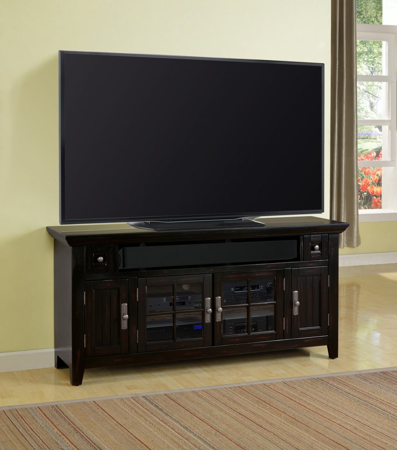 """Parker House Tahoe 62"""" TV Console in Vintage Black TAH#62 CLOSEOUT"""