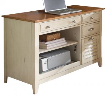 Liberty Ocean Isle Computer Credenza in Bisque with Natural Pine 303-HO121