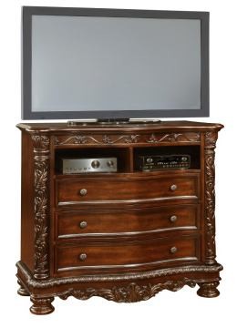 Oasis Home Patterson Media Chest in Rich Pecan 6535-05