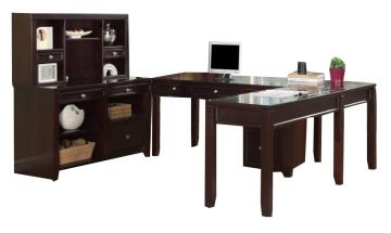 Parker House Boston U-Shaped Credenza Desks w/Hutch and Rolling File in Merlot