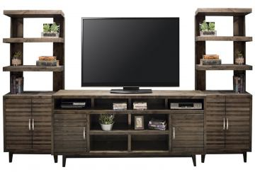 """Legends Furniture Avondale 3pc Entertainment Wall with 84"""" TV Console in Charcoal"""