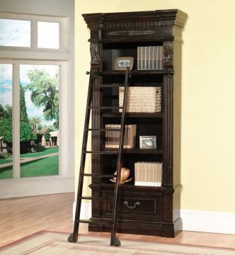Parker House Grand Manor Palazzo Museum Bookcase with Ladder in Burnished Black