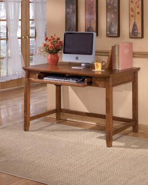 Cross Island Home Office Small Leg Desk in Medium Brown Oak Stain