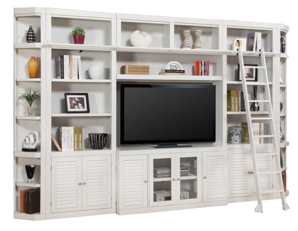 Parker House Boca 6 Piece Entertainment Wall with Ladder in Cottage White SPECIAL
