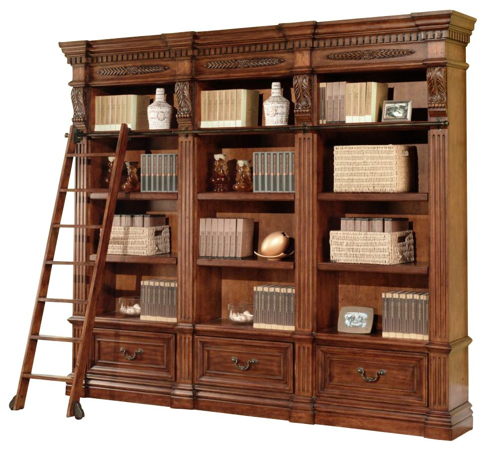 Parker House Grand Manor Granada 4Pc Museum Bookcase with Ladder in Vintage Walnut
