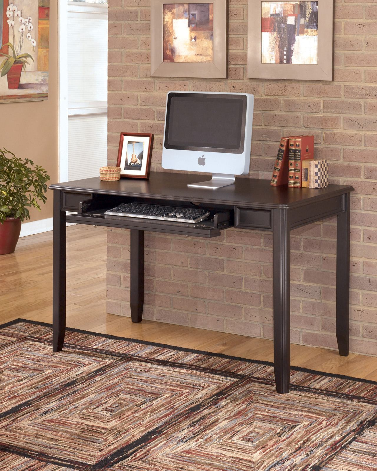 Carlyle Home Office Small Leg Desk in Almost Black