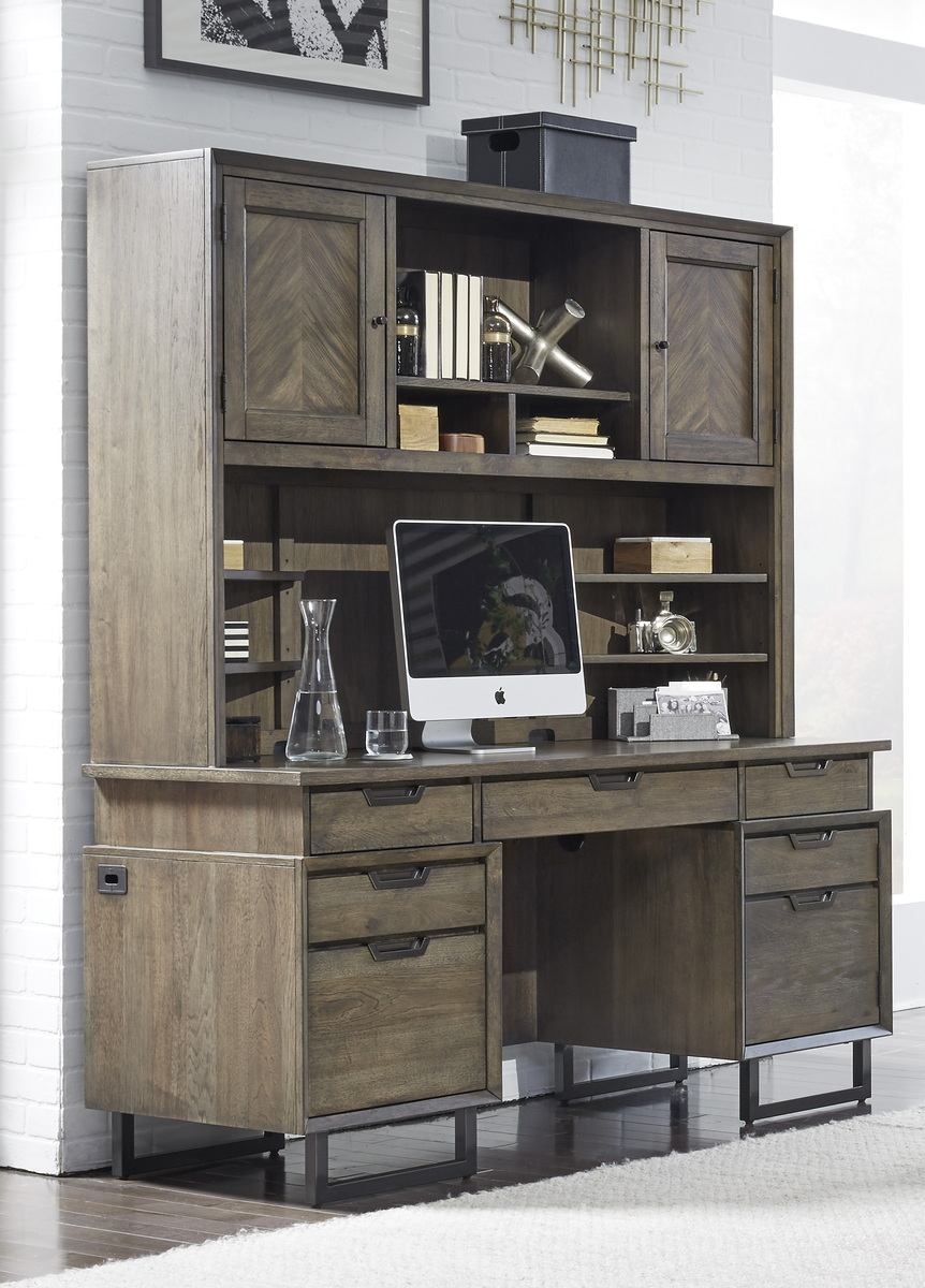 "Aspenhome Harper Point 66"" Credenza and Hutch in Fossil"