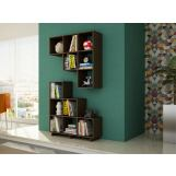 Accentuations by Manhattan Comfort Cascavel Stair Cubby with 6 Cube Shelves in Tobacco (Set of 2) 2-26AMC49