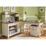 Liberty Ocean Isle 4-Piece Writing Desk Home Office Set in Bisque with Natural Pine