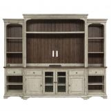 Liberty Morgan Creek Entertainment Center with Piers in Antique White Finish with Wire Brushed Tobacco Accents 498-ENTW-ECP