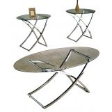 ACME Paradise 3pc Occasional Table Set in Nickel