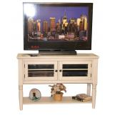 "ECI Furniture Nantucket 48"" Entertainment Cart in Antique White 1866-20-TVC48"