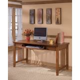 Cross Island Home Office Large Leg Desk in Medium Brown Oak Stain