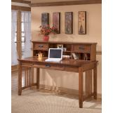 Cross Island Home Office Large Leg Desk & Short Desk Hutch in Medium Brown Oak Stain