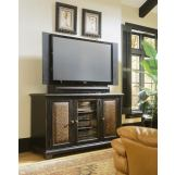 "Hooker Furniture Telluride 60"" Plasma Console - Black w/ Leather 370-55-457 PROMO"