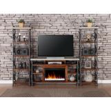 Legends Furniture Steampunk Fireplace Entertainment Wall in Chestnut