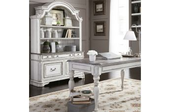Liberty Magnolia Manor 3 Piece Desk & Hutch Set in Antique White 244-HOJ-3DH