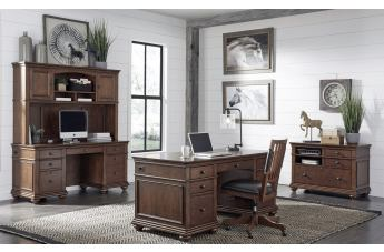 "Aspenhome Oxford 4pc Office Set w/ 66"" Executive Desk in Whiskey Brown"