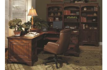 Aspenhome Centennial Home Office Computer Desk and Return Set in Chestnut Brown